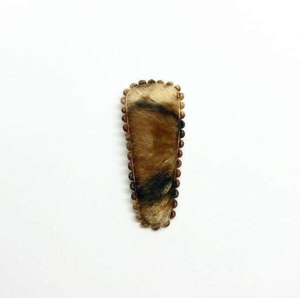 Haarspeldje panter vacht geribbelde rand 3,5cm