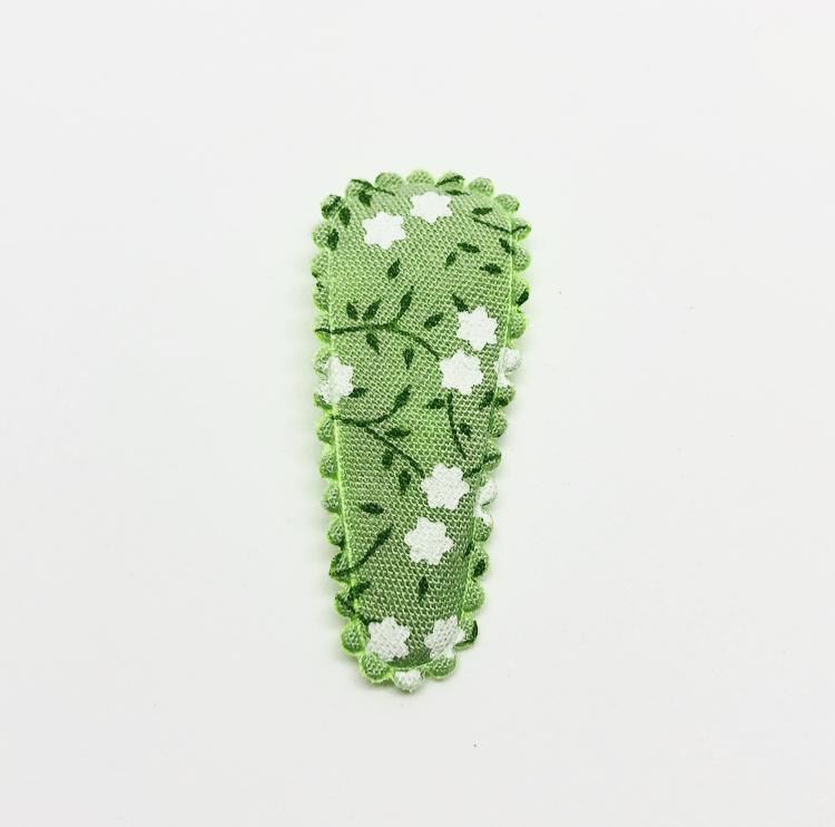 Haarspeldje groen bloemen satijn geribbelde rand 3,5cm