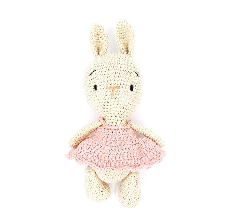 konijn crème roze jurk