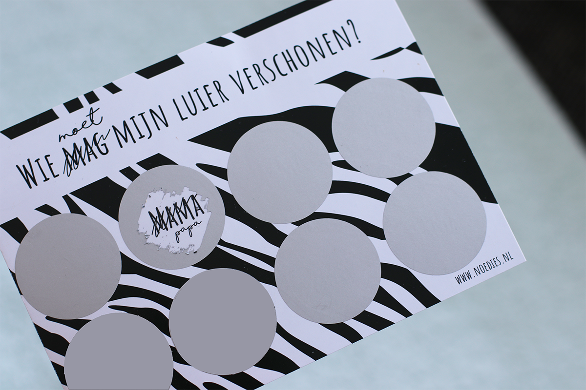 Kraskaart zebra luier